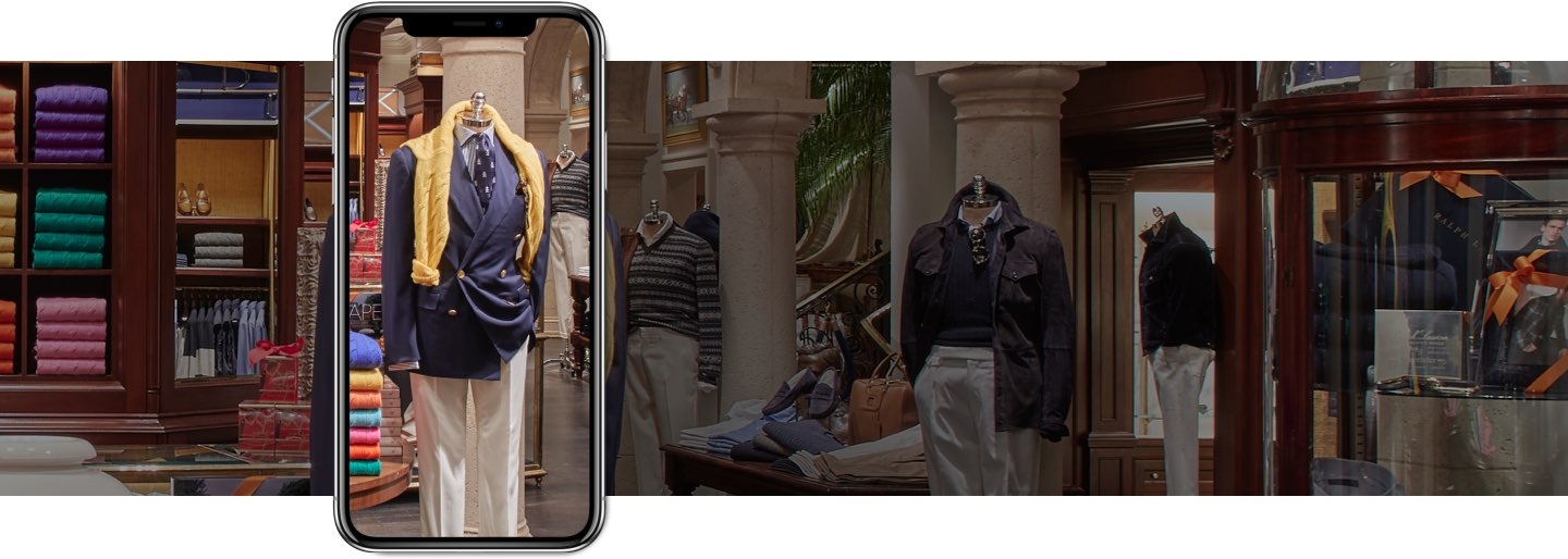 Image of Ralph Lauren flagship on smartphone screen